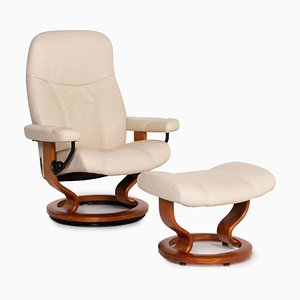 Cream Leather Consul Relax Function Armchair & Stool by Kein Designer for Stressless, Set of 2