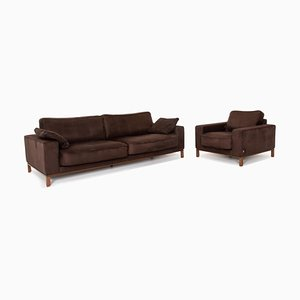 Dark Brown Fabric 3-Seat Sofa & Armchair from Musterring, Set of 2