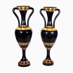 Large Italian Lacquered Wood Amphoras, Set of 2
