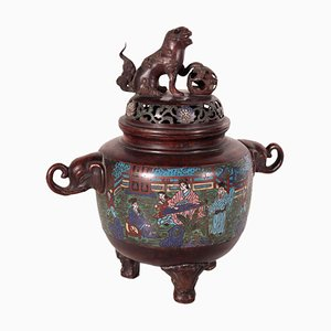 Japanese Meiji Period Cloisonne Bronze Incense Burner