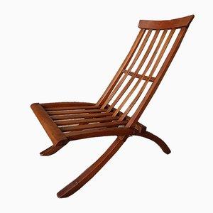 Antique English Victorian Sculptural Solid Wooden Oak Folding Chair, 1890s