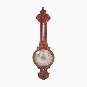 Carved Burr Walnut Banjo Barometer