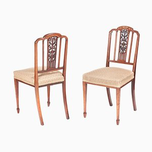 Antique Edwardian Inlaid Rosewood Side Chairs, Set of 2