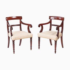 George III Mahogany Elbow Desk Chairs, Set of 2