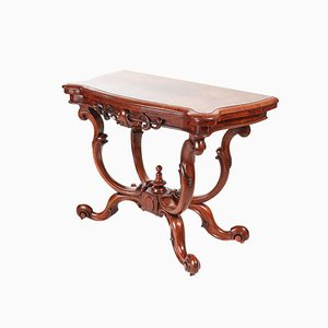 Victorian Burr Walnut Basket Base Card Table, 1860s