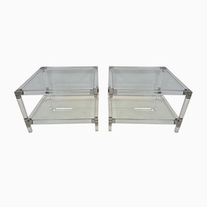 Lucite, Gilt & Chromed Metal 2-Tier Side Tables, 1970s, Set of 2
