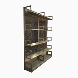 Vintage Sheet Metal and Wire Mesh Shelf from Strafor, 1920s