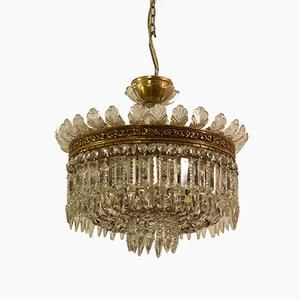 Empire Style Bohemia Crystal 7-Light Balloon Chandelier, 1940s