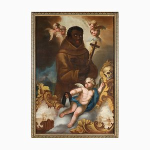 Large Saint Benedict the Moor Painting, Italy, 1750s