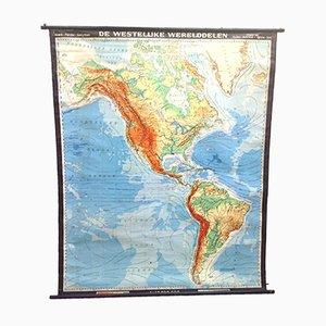 Mappa scolastica grande Mid-Century dell'America del Nord e del Sud di Haack Painke Kooyman per Perthes Dijkstra