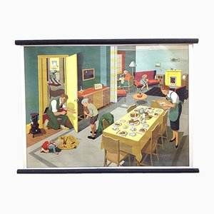 Mid-Century Living Room Scene School Poster by Elizabeth Skilton for General Service English Wall Pictures