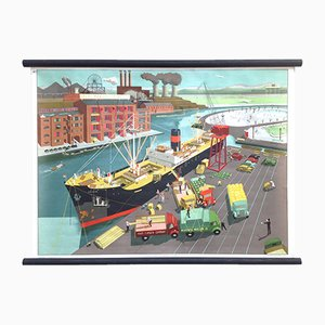 Mid-Century Harbour Scene School Poster by Elizabeth Skilton for General Service English Wall Pictures