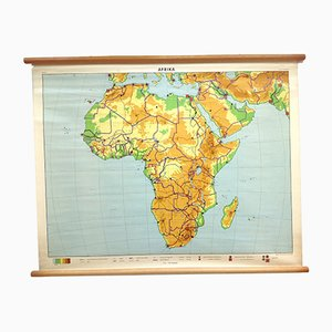 Mid-Century School Poster Map of Africa from J.B. Wolter, 1960s
