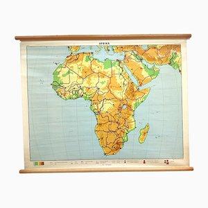 Póster de escuela Mid-Century Mapa de África de JB Wolter, años 60