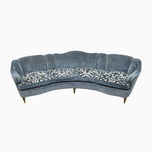 Mid-Century Modern Italian Curved 4-Seat Sofa, 1950s