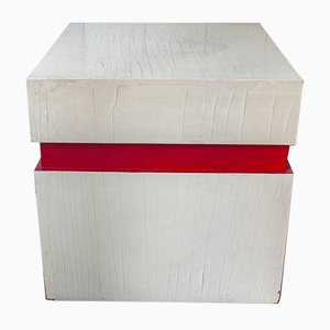 Vintage Italian Wooden Cube Box, 1970s
