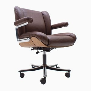 Swiss Leather and Plywood Swivel Desk Chair by Stoll for Giroflex, 1960s