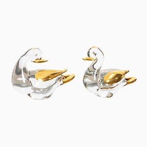 Anatre in vetro e oro a 24 carati di Murano, anni '80, set di 2