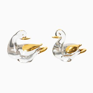 Glass and 24 Carat Gold Ducks from Murano, 1980s, Set of 2