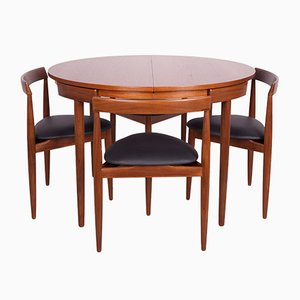 Mid-Century Teak Dining Table & Chairs Set by Hans Olsen for Frem Røjle, 1950s, Set of 5