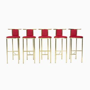 Brass Barstools from Belgo Chrom / Dewulf Selection, 1974, Set of 5