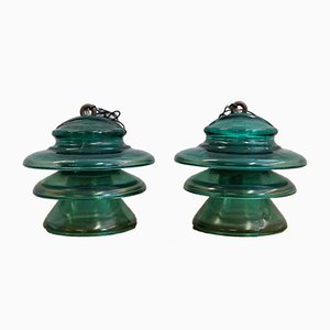 Glass Insulator Ceiling Lamps, 1970s, Set of 2