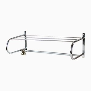 Wall Coat Rack & Shelf in Chrome, Czechoslovakia, 1950s