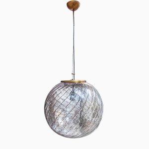 Italian Murano Glass & Brass Ceiling Lamp, 1970s