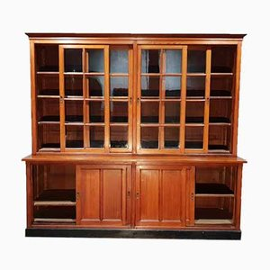 Antique Breakfront Pitch Pine University School Lab Cabinet