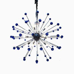 Lámpara de araña Sputnik con cristal de Murano azul de Italian Light Design