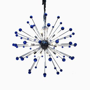 Sputnik Chandelier with Blue Murano Glass from Italian Light Design