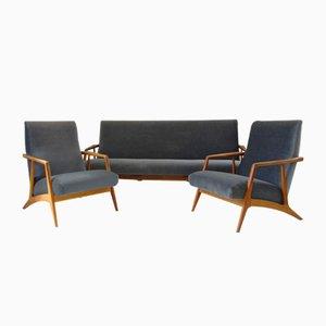 Mid-Century Mohair Sofa, Sessel & Couchtisch von Wilhelm Renz, 1960er, 4er Set