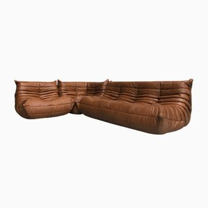 Vintage French Leather Togo Living Room Set by Michel Ducaroy for Ligne Roset, Set of 3