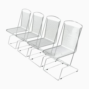 Chromed Wire Steel Dining Chairs by Till Behrens for Schlubach, 1983, Set of 4