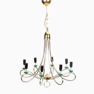 Hollywood Regency Chrome Chandelier with Green Details, 1960s