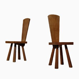 Mid-Century French Handcrafted Oak Side Chairs, Set of 2