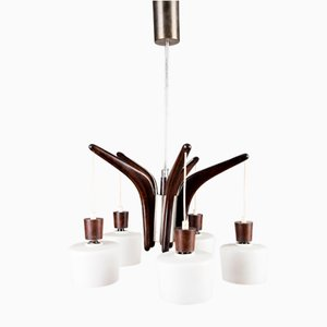 Large Danish Chandelier in Rosewood, Metal & 5 Opalines, 1960s