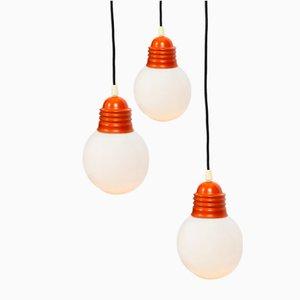 Lampe à Suspension Triple Ampoule Orange dans le Style de Piero Brombin, 1970s