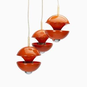 Lampe à Suspension Cascade Orange par Klaus Hempel pour Kaiser Idell / Kaiser Leuchten, 1970s