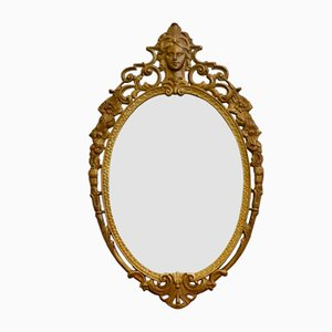 Antique Oval Brass Mirror, France, 1870s