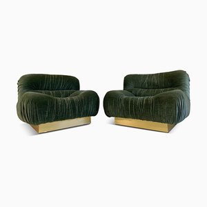 Italian Green Velvet and Brass Lounge Chairs, 1970s, Set of 2