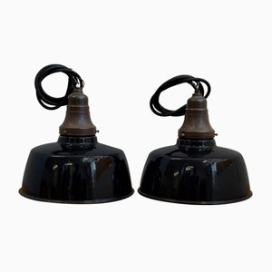 Small Industrial Enameled Ceiling Lamps, 1930s, Set of 2