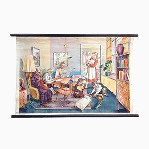 Mid-Century the Happy Family Schulwandkarte von Rudolf Dirr