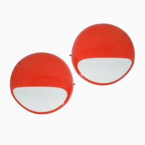 Mid-Century Red ABS Model 4035 Wall Lights by Gerd Lange for Kartell, Set of 2