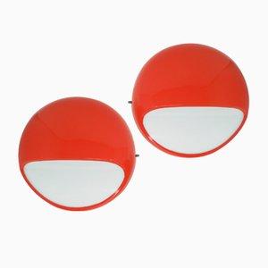 Rote Mid-Century ABS Modell 4035 Wandlampen von Gerd Lange für Kartell, 2er Set