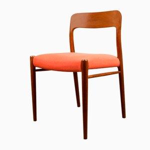 Chaises Modèle N ° 75 en Teck et Tissu Rouge par Niels Otto Møller pour JL Møllers, Danemark, 1960s, Set de 4