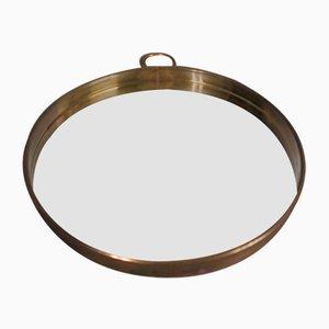Vintage Brass Round Mirror, 1950s