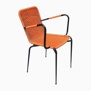 Italienischer Orangenfarbener Steel Scoopy Stuhl aus Stahl, 1960er
