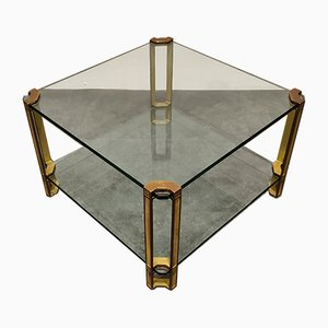 Pioneer Glass & Cast Brass T24 Square Coffee or Side Table by Peter Ghyczy, 1970s
