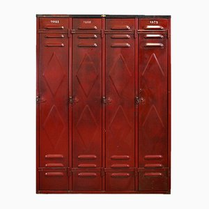 Red Metal Fata Locker from Faveta, Belgium, 1930s